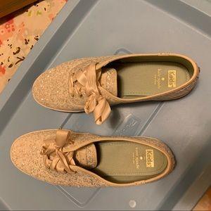 Keds Shoes - Silver White Glitter Kate Spade Keds